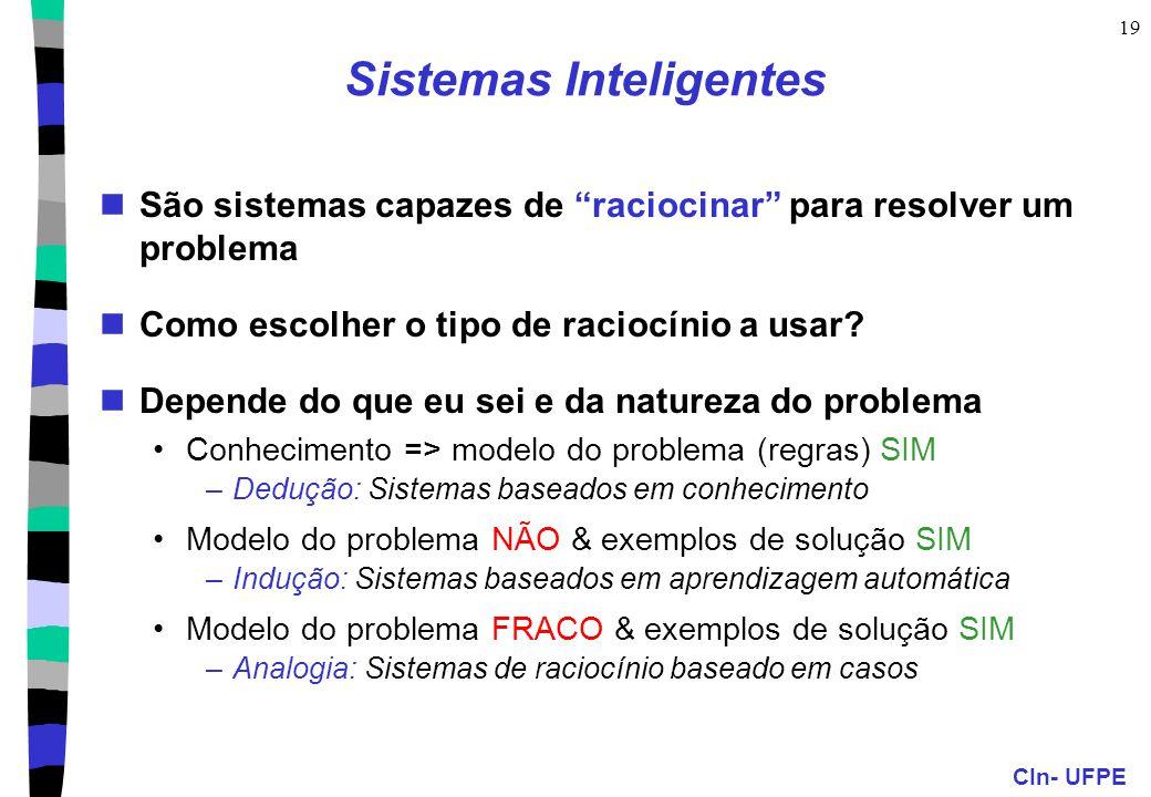 """CIn- UFPE 19 Sistemas Inteligentes São sistemas capazes de """"raciocinar"""" para resolver um problema Como escolher o tipo de raciocínio a usar? Depende d"""