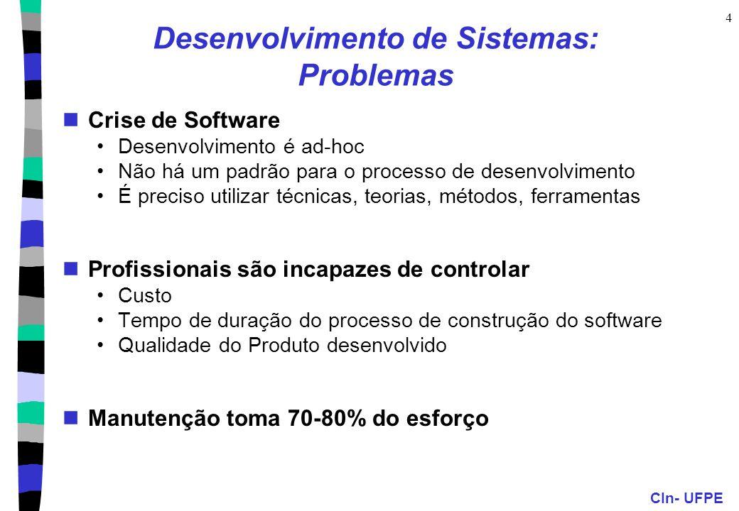 CIn- UFPE 4 Desenvolvimento de Sistemas: Problemas Crise de Software Desenvolvimento é ad-hoc Não há um padrão para o processo de desenvolvimento É pr