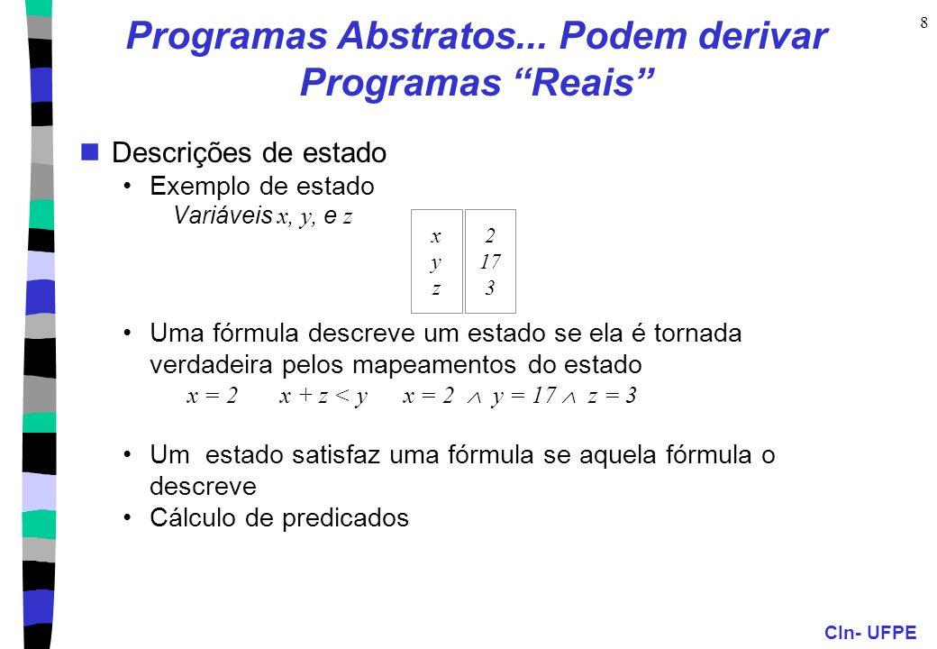 """CIn- UFPE 8 Programas Abstratos... Podem derivar Programas """"Reais"""" Descrições de estado Exemplo de estado Variáveis x, y, e z Uma fórmula descreve um"""