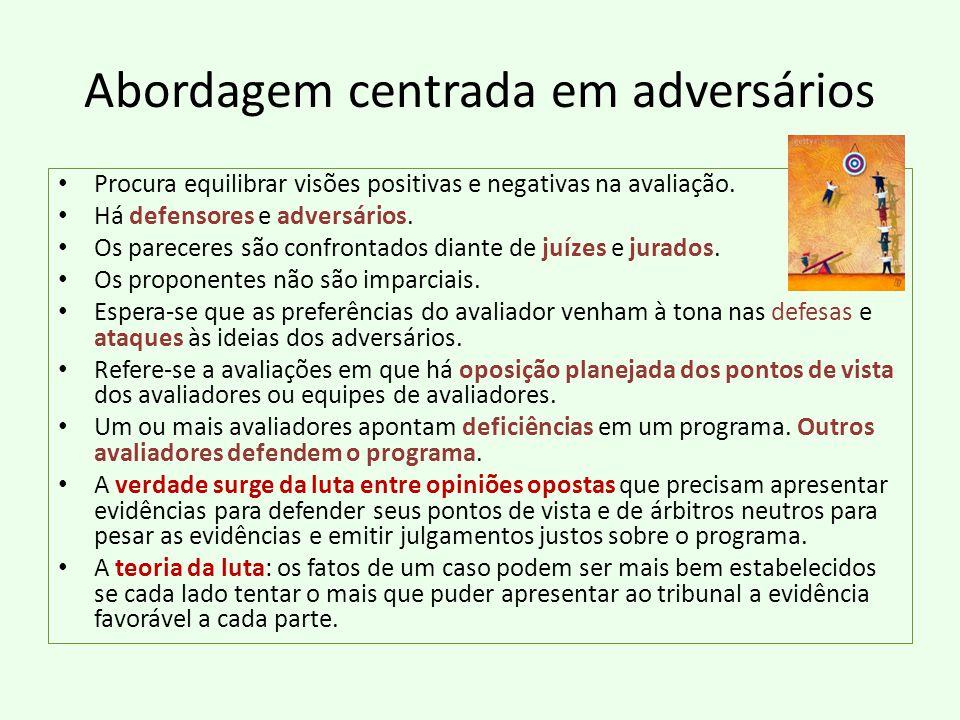 Abordagem centrada em adversários Procura equilibrar visões positivas e negativas na avaliação.