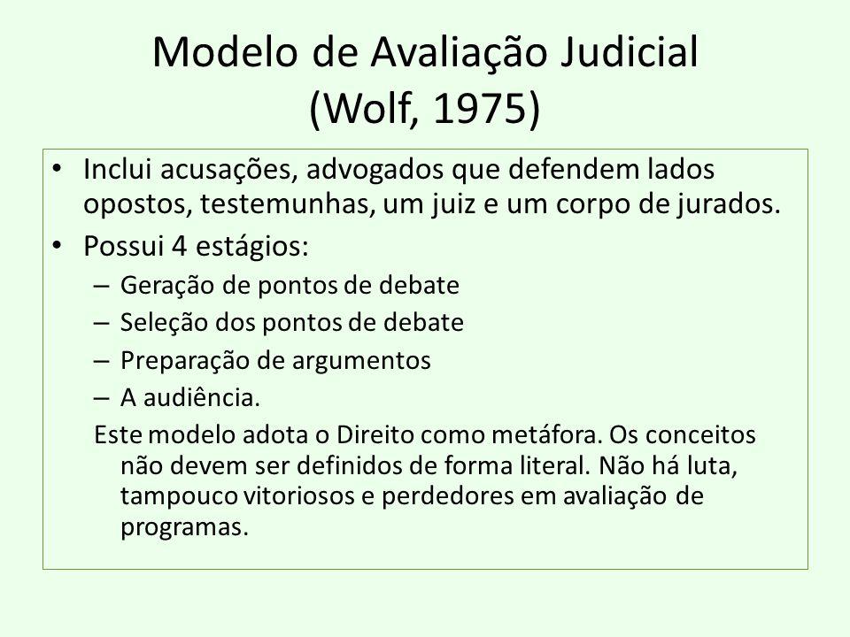 Modelo de Avaliação Judicial (Wolf, 1975) Inclui acusações, advogados que defendem lados opostos, testemunhas, um juiz e um corpo de jurados. Possui 4