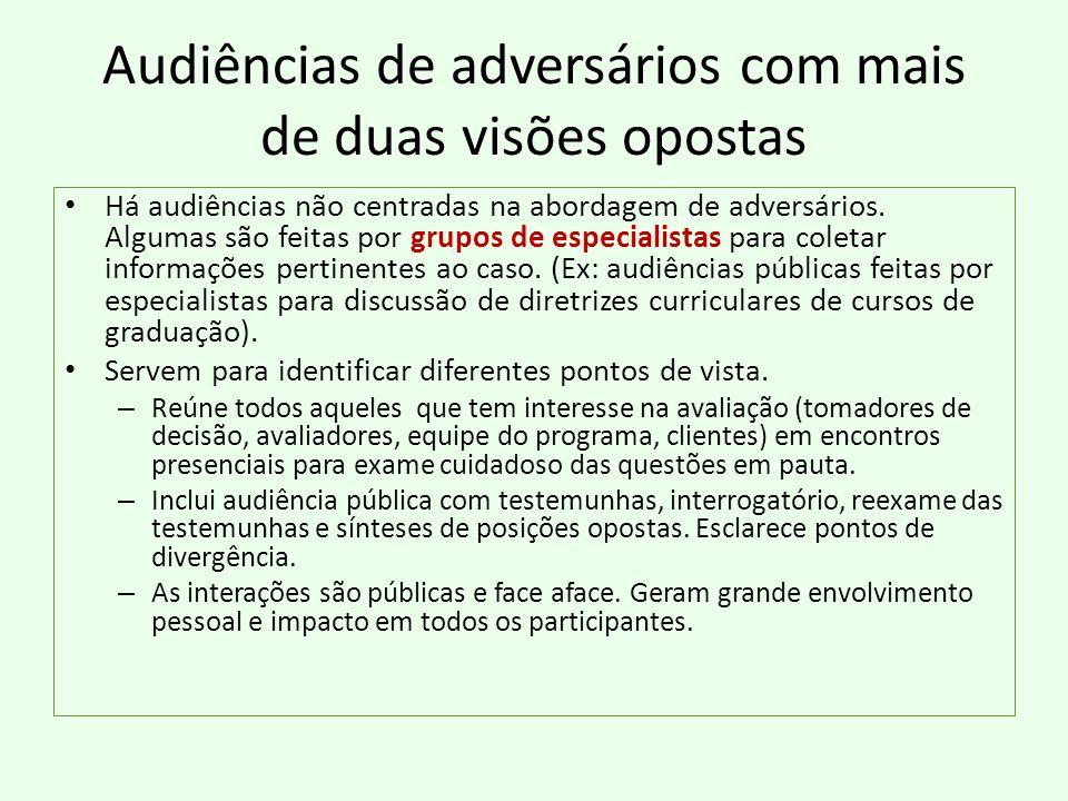 Audiências de adversários com mais de duas visões opostas Há audiências não centradas na abordagem de adversários. Algumas são feitas por grupos de es