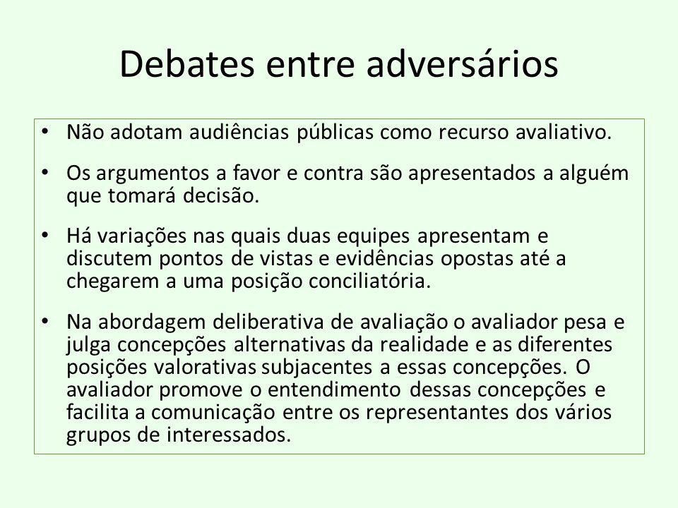Debates entre adversários Não adotam audiências públicas como recurso avaliativo. Os argumentos a favor e contra são apresentados a alguém que tomará