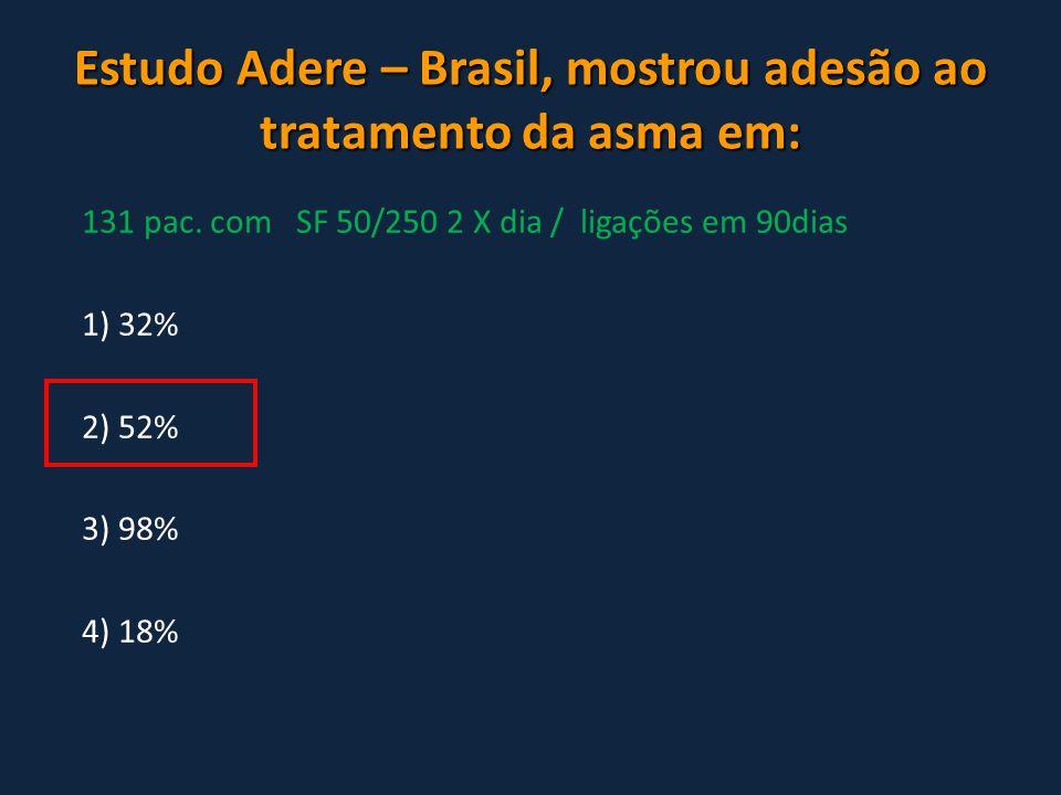 Estudo Adere – Brasil, mostrou adesão ao tratamento da asma em: 131 pac. com SF 50/250 2 X dia / ligações em 90dias 1) 32% 2) 52% 3) 98% 4) 18%