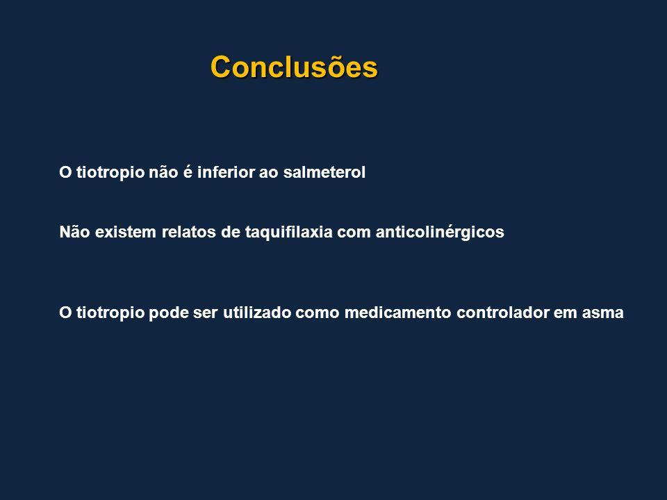 Conclusões O tiotropio não é inferior ao salmeterol Não existem relatos de taquifilaxia com anticolinérgicos O tiotropio pode ser utilizado como medic