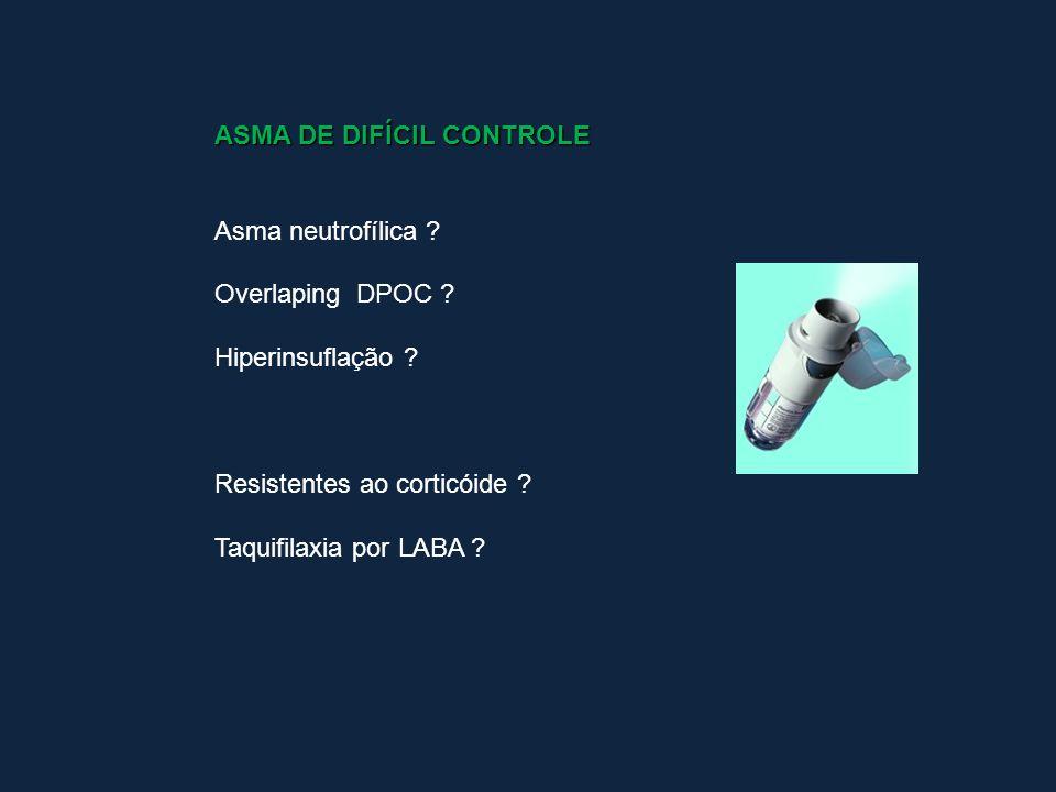 ASMA DE DIFÍCIL CONTROLE Asma neutrofílica ? Overlaping DPOC ? Hiperinsuflação ? Resistentes ao corticóide ? Taquifilaxia por LABA ?