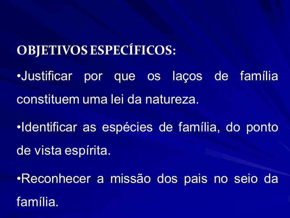 OBJETIVOS ESPECÍFICOS: Justificar por que os laços de família constituem uma lei da natureza.