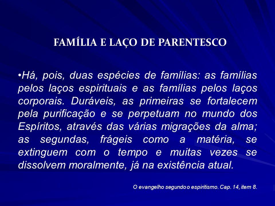 FAMÍLIA E LAÇO DE PARENTESCO Há, pois, duas espécies de famílias: as famílias pelos laços espirituais e as famílias pelos laços corporais.