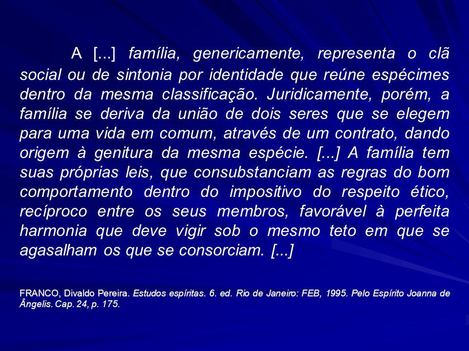 A [...] família, genericamente, representa o clã social ou de sintonia por identidade que reúne espécimes dentro da mesma classificação.