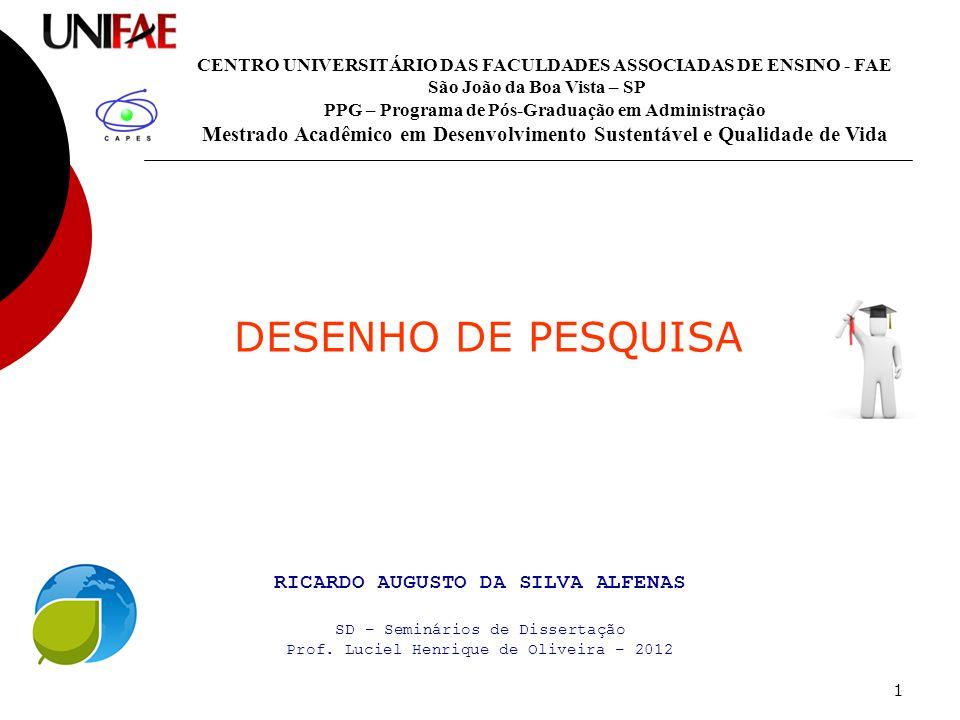 1 DESENHO DE PESQUISA CENTRO UNIVERSITÁRIO DAS FACULDADES ASSOCIADAS DE ENSINO - FAE São João da Boa Vista – SP PPG – Programa de Pós-Graduação em Adm