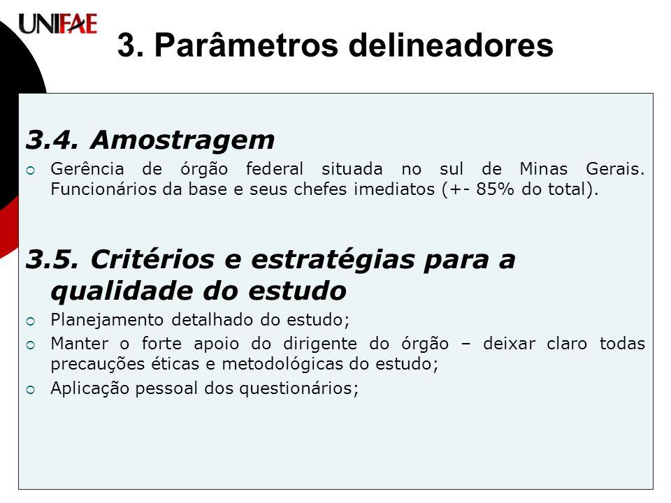 3. Parâmetros delineadores 3.4. Amostragem  Gerência de órgão federal situada no sul de Minas Gerais. Funcionários da base e seus chefes imediatos (+