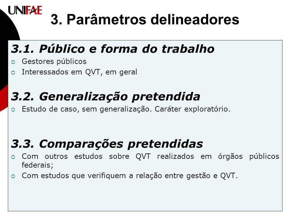3. Parâmetros delineadores 3.1. Público e forma do trabalho  Gestores públicos  Interessados em QVT, em geral 3.2. Generalização pretendida  Estudo