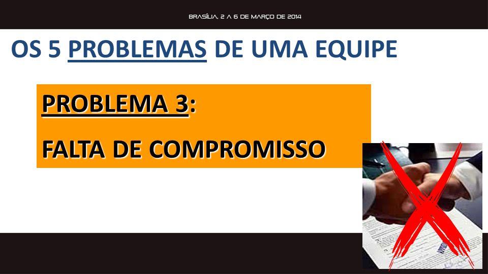 PROBLEMA 3: FALTA DE COMPROMISSO OS 5 PROBLEMAS DE UMA EQUIPE