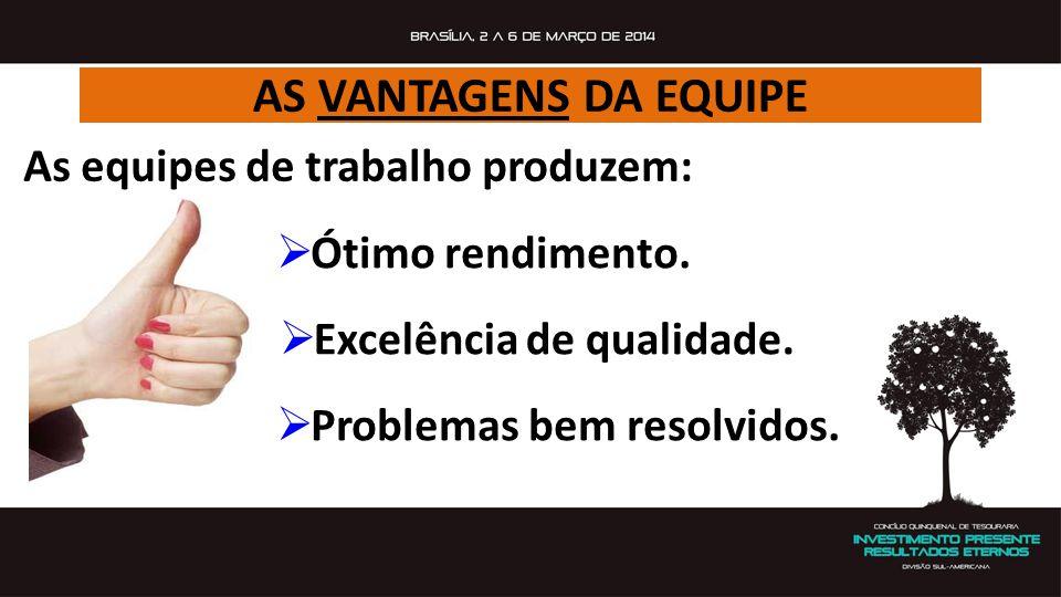 AS VANTAGENS DA EQUIPE  Excelência de qualidade.  Problemas bem resolvidos. As equipes de trabalho produzem:  Ótimo rendimento.