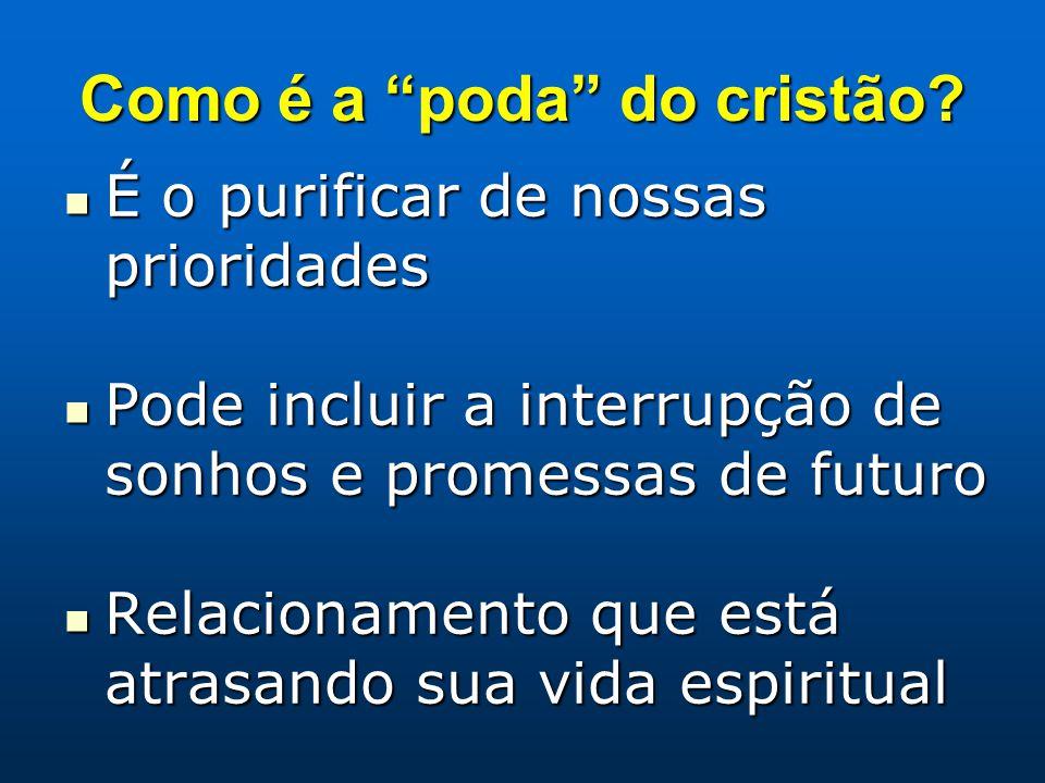 """Como é a """"poda"""" do cristão? É o purificar de nossas prioridades É o purificar de nossas prioridades Pode incluir a interrupção de sonhos e promessas d"""
