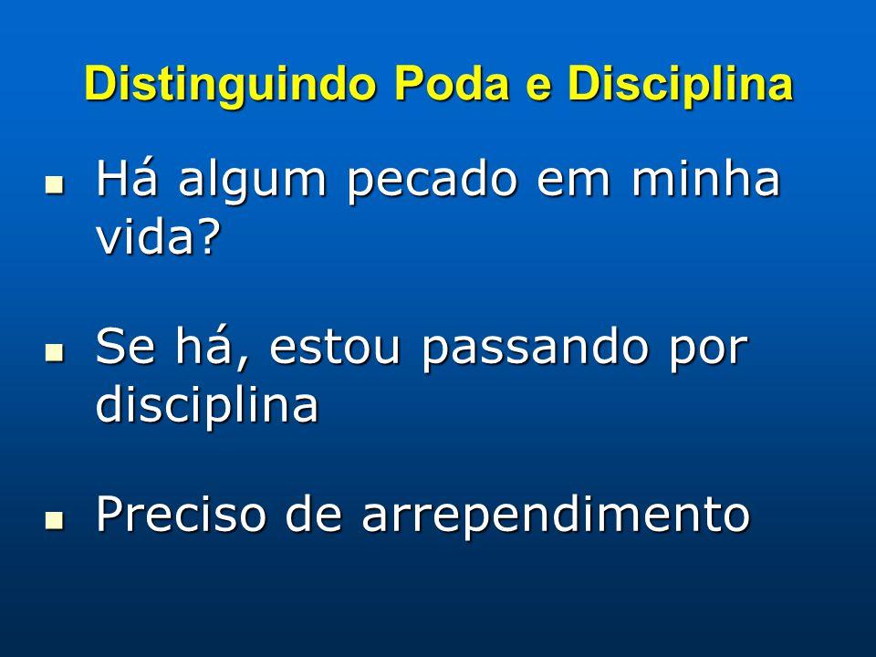Distinguindo Poda e Disciplina Há algum pecado em minha vida? Há algum pecado em minha vida? Se há, estou passando por disciplina Se há, estou passand