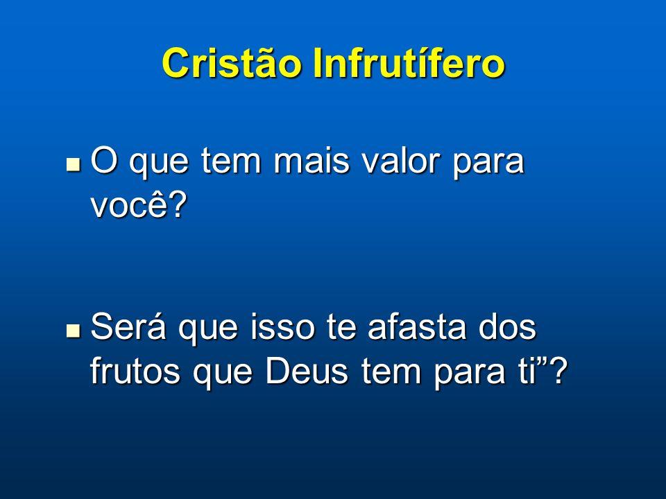 """Cristão Infrutífero O que tem mais valor para você? O que tem mais valor para você? Será que isso te afasta dos frutos que Deus tem para ti""""? Será que"""