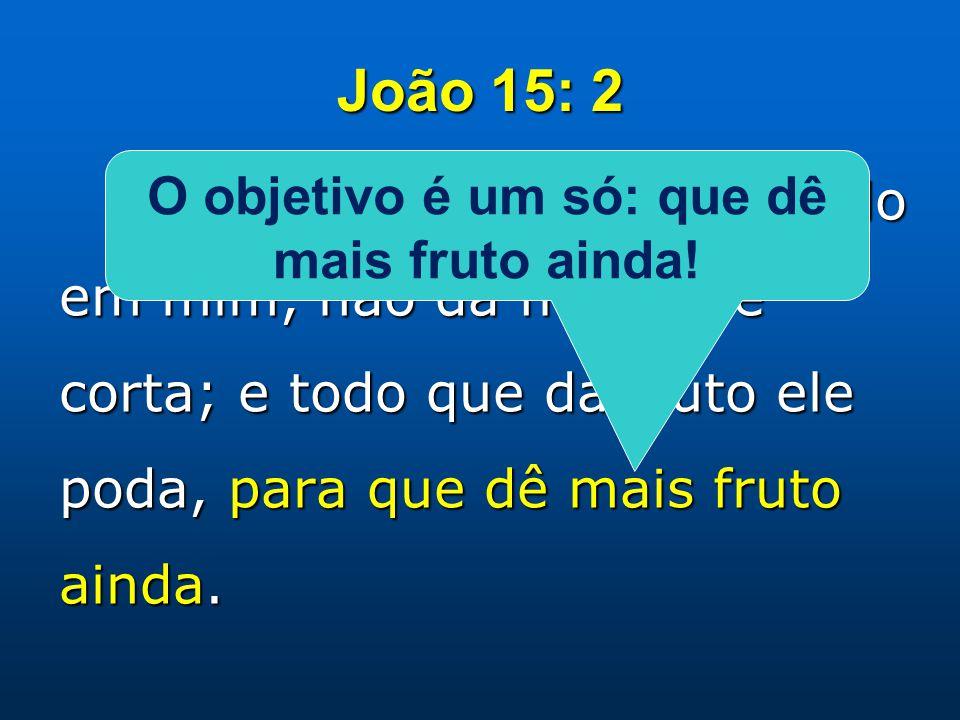 João 15: 2 Todo ramo que, estando em mim, não dá fruto, ele corta; e todo que dá fruto ele poda, para que dê mais fruto ainda.