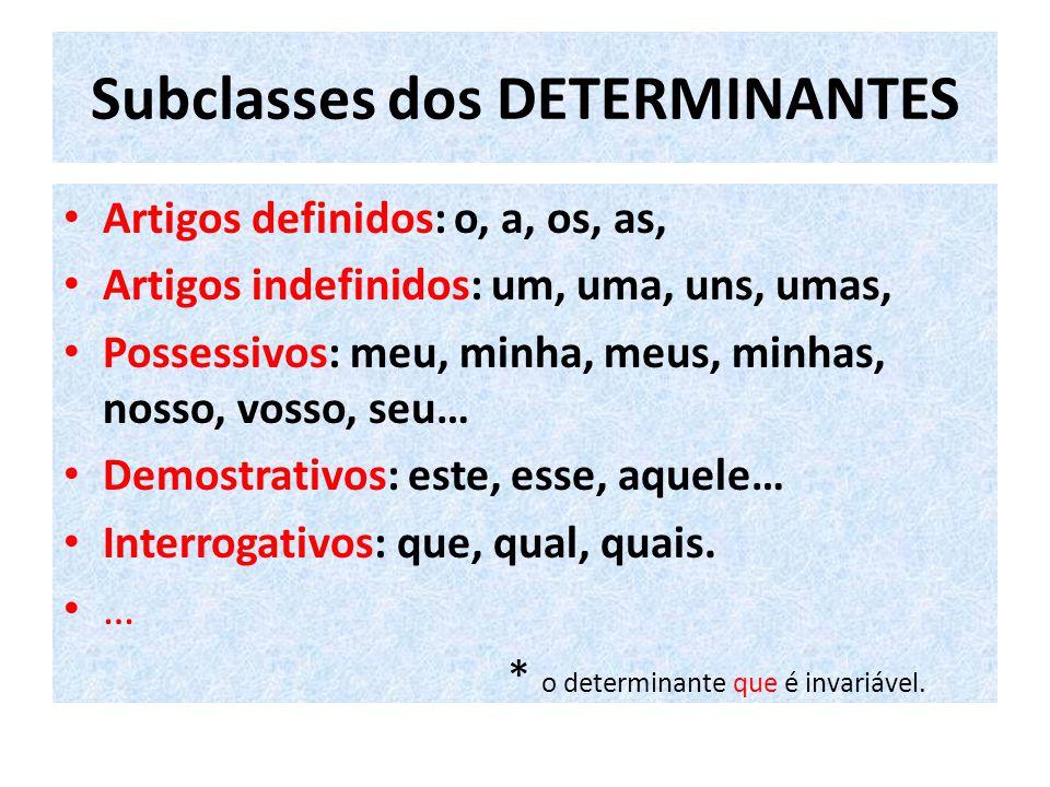 Subclasses dos DETERMINANTES Artigos definidos: o, a, os, as, Artigos indefinidos: um, uma, uns, umas, Possessivos: meu, minha, meus, minhas, nosso, vosso, seu… Demostrativos: este, esse, aquele… Interrogativos: que, qual, quais.