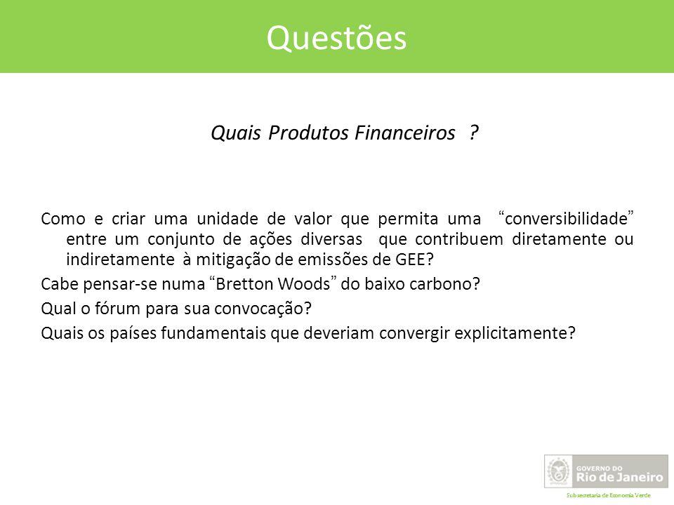 Subsecretaria de Economia Verde Questões Quais Produtos Financeiros .