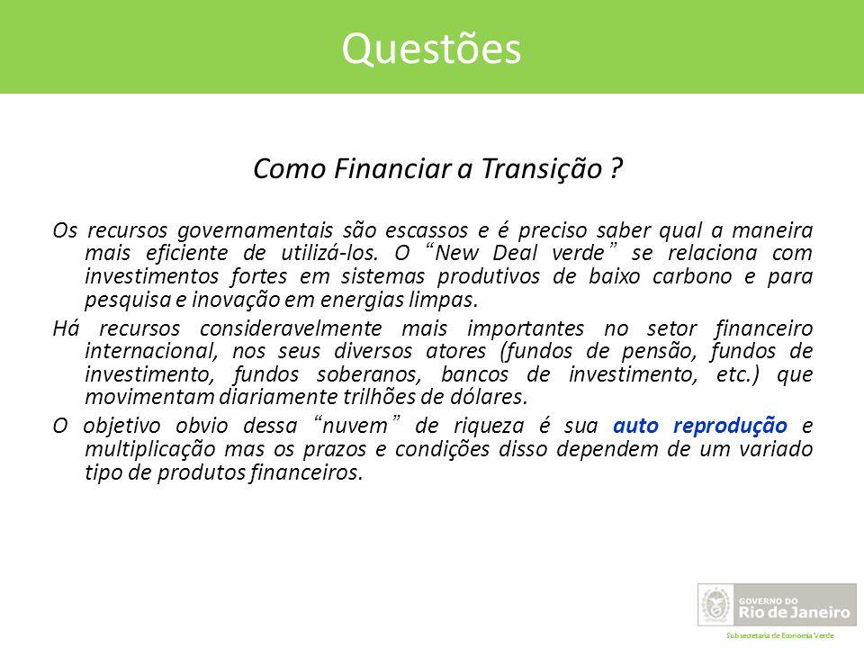 Subsecretaria de Economia Verde Questões Como Financiar a Transição .