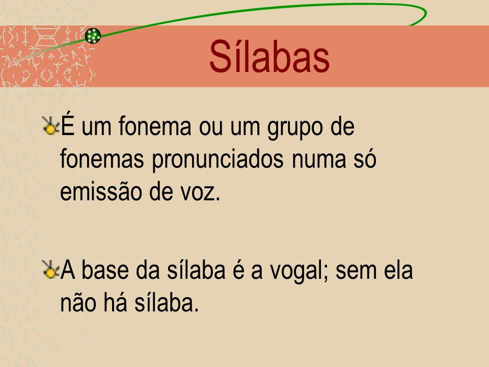 Sílabas É um fonema ou um grupo de fonemas pronunciados numa só emissão de voz.