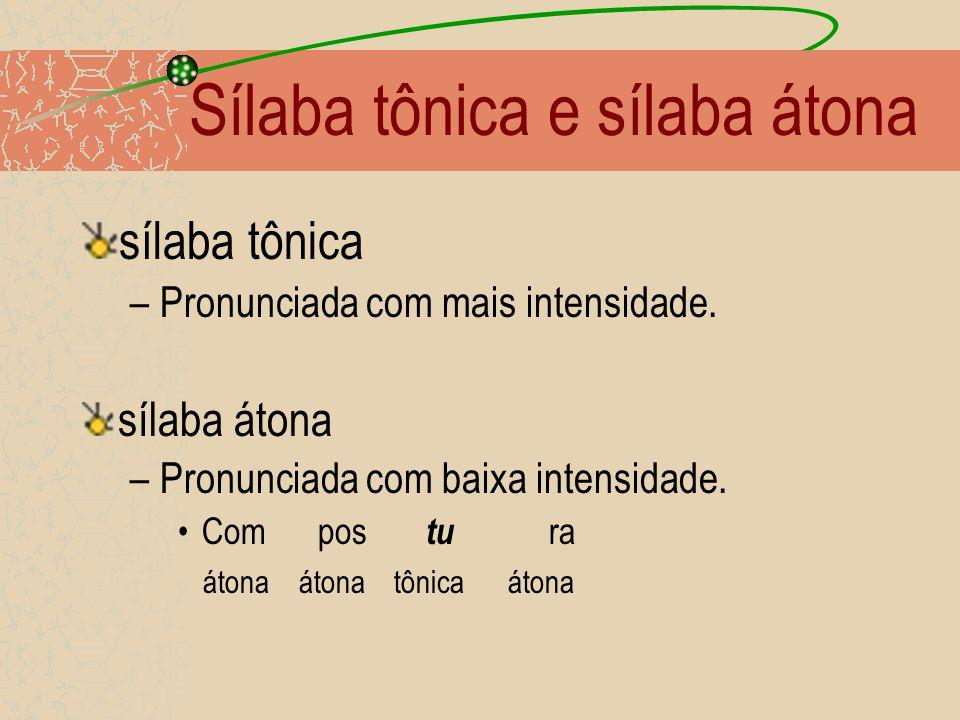 Sílaba tônica e sílaba átona sílaba tônica –Pronunciada com mais intensidade.