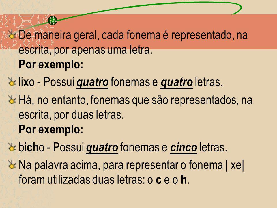 De maneira geral, cada fonema é representado, na escrita, por apenas uma letra.