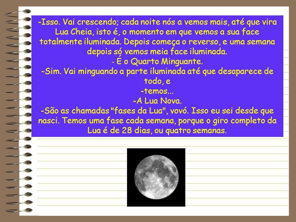 -Isso. Vai crescendo; cada noite nós a vemos mais, até que vira Lua Cheia, isto é, o momento em que vemos a sua face totalmente iluminada. Depois come
