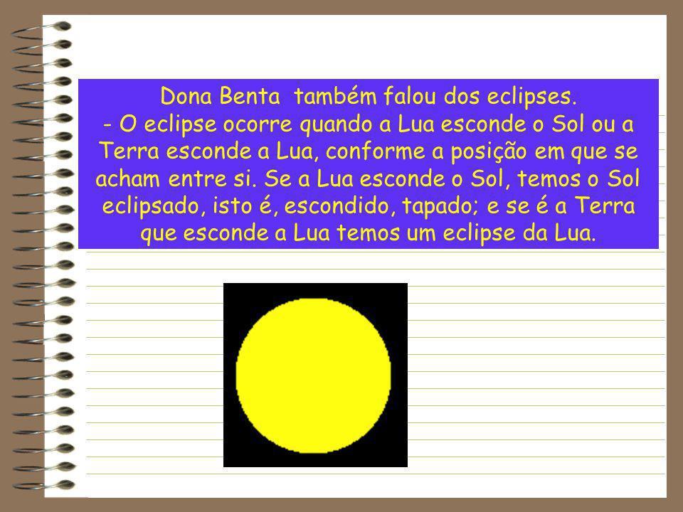 Dona Benta também falou dos eclipses. - O eclipse ocorre quando a Lua esconde o Sol ou a Terra esconde a Lua, conforme a posição em que se acham entre