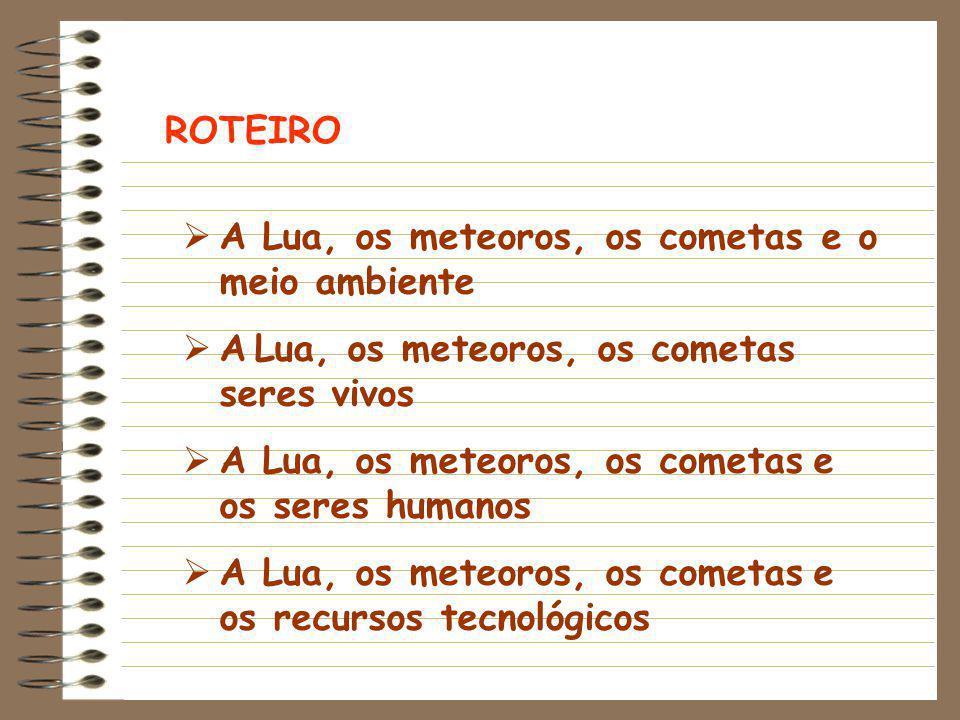 ROTEIRO  A Lua, os meteoros, os cometas e o meio ambiente  A Lua, os meteoros, os cometas seres vivos  A Lua, os meteoros, os cometas e os seres hu