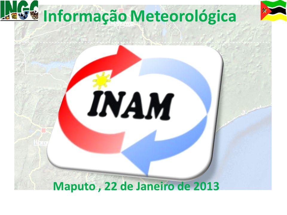Precipitação acumulada durante os últimos 10 dias De 11 a 21 de Janeiro de 2013, no geral, o país registou 200 a 500 mm de precipitação acumulada, em algumas regiões das províncias de Gaza, Inhambane, Manica e Tete, segundo a estimativa por satélite (áreas sombreadas de amarelo a castanho); Precipitação total registada nos últimos 10 dias na rede do INAM: Chigubo – 334.9 mm Panda - 295.4 mm Xai-Xai - 272.6 mm Massangena – 194.7 mm