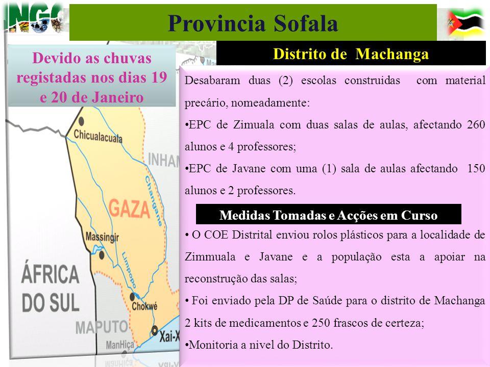 Distrito de Machanga Desabaram duas (2) escolas construidas com material precário, nomeadamente: EPC de Zimuala com duas salas de aulas, afectando 260