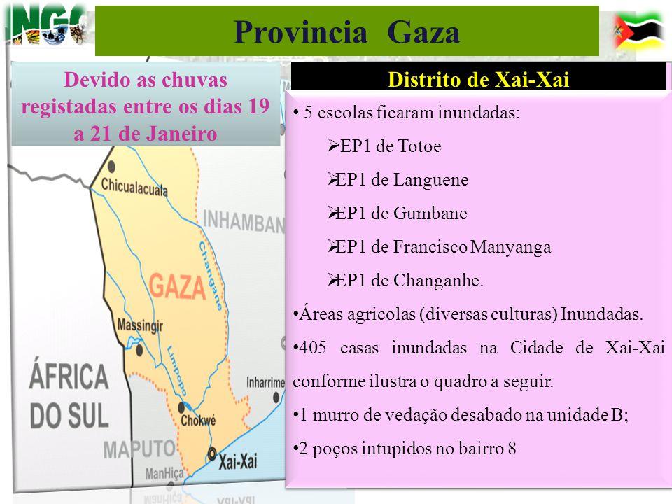 Distrito de Xai-Xai 5 escolas ficaram inundadas:  EP1 de Totoe  EP1 de Languene  EP1 de Gumbane  EP1 de Francisco Manyanga  EP1 de Changanhe. Áre