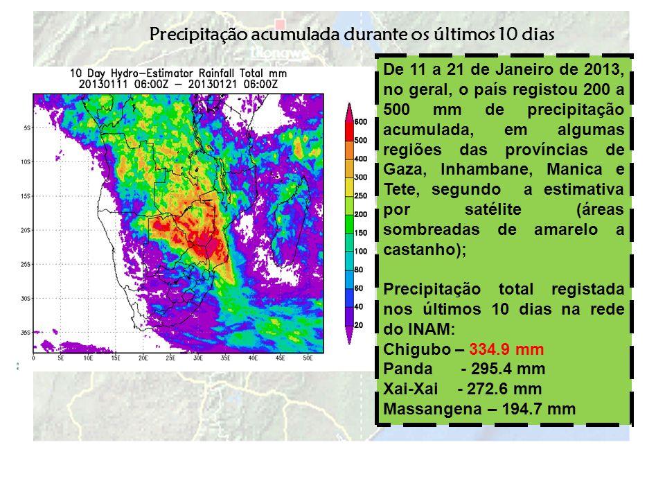 Precipitação acumulada durante os últimos 10 dias De 11 a 21 de Janeiro de 2013, no geral, o país registou 200 a 500 mm de precipitação acumulada, em
