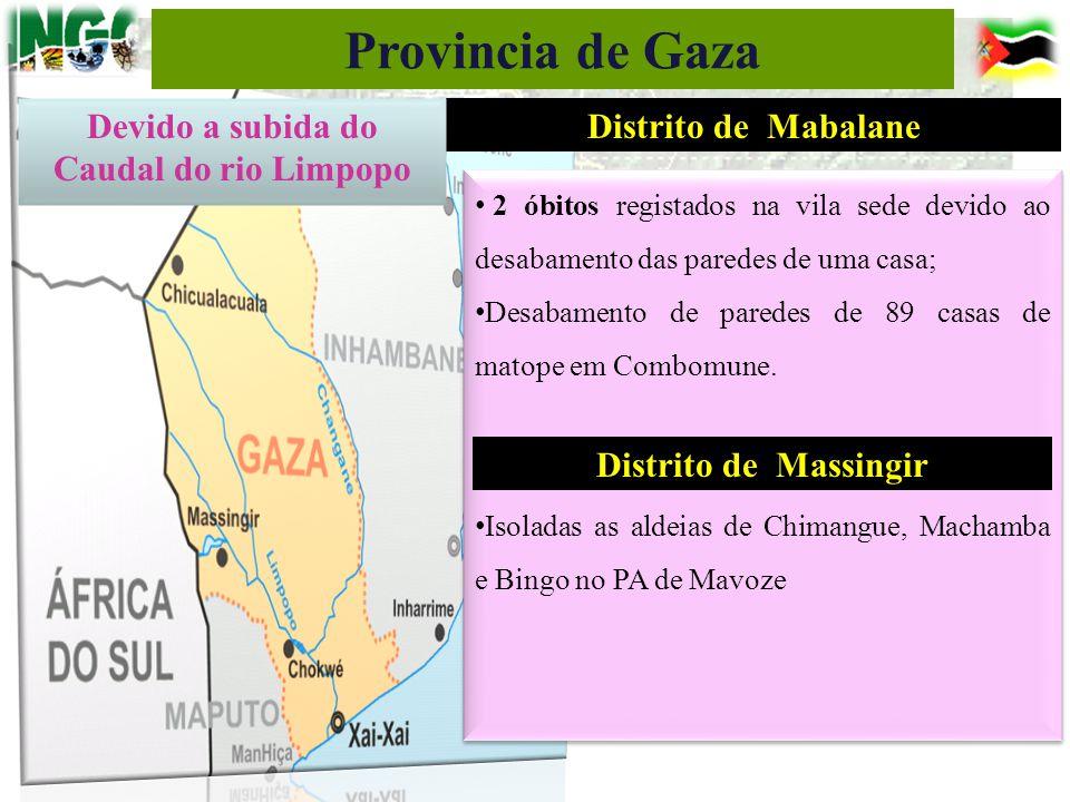 Distrito de Mabalane 2 óbitos registados na vila sede devido ao desabamento das paredes de uma casa; Desabamento de paredes de 89 casas de matope em C