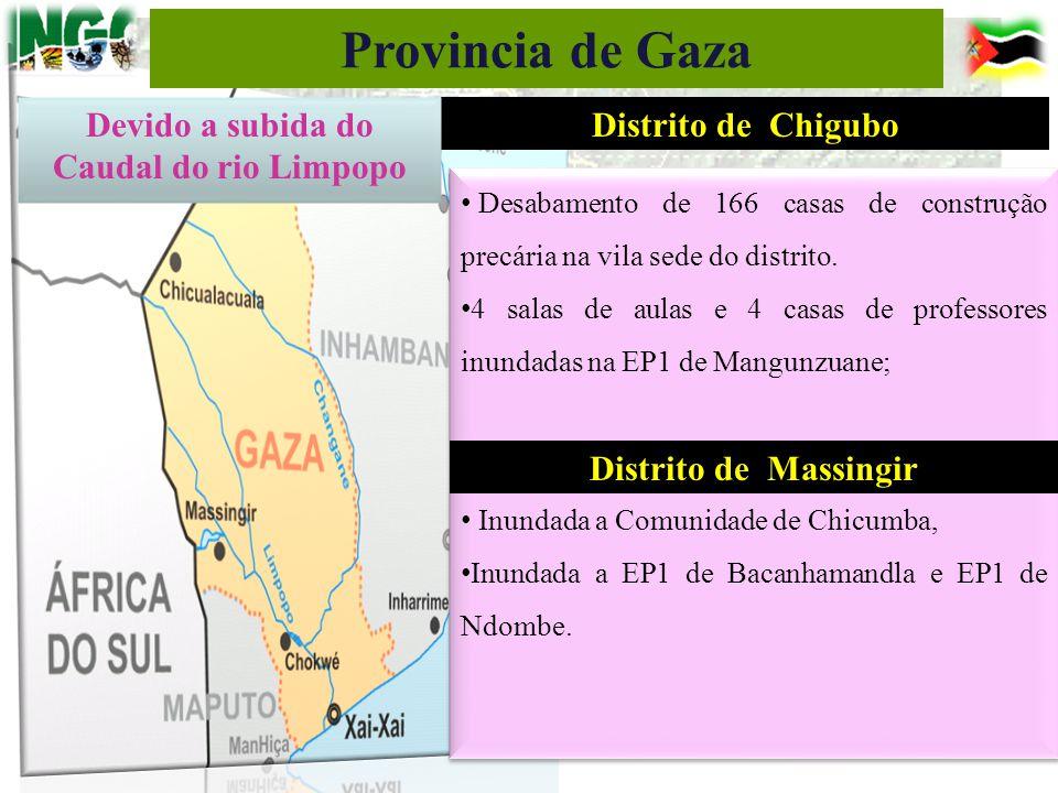 Distrito de Chigubo Desabamento de 166 casas de construção precária na vila sede do distrito. 4 salas de aulas e 4 casas de professores inundadas na E