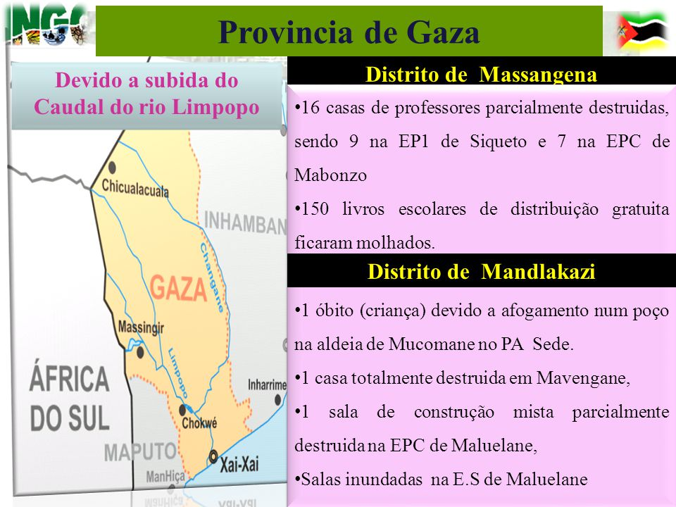 Distrito de Massangena 16 casas de professores parcialmente destruidas, sendo 9 na EP1 de Siqueto e 7 na EPC de Mabonzo 150 livros escolares de distri