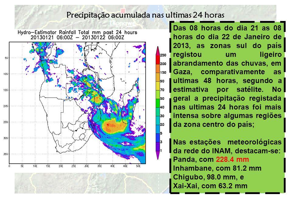 Previsão Valida até às 24 horas de hoje Até as 24 horas de hoje, dia 22 de Janeiro, o INAM prevê continuação de chuvas intensas algumas regiões das províncias de Gaza, Inhambane, extremo norte de Manica e na província da Zambézia; Nestas regiões há maior probabilidade da precipitação total acumulada superar 50 mm em 24 horas; Ao longo da faixa costeira, de Inhambane e Gaza, há previsão de ventos moderados a fortes (50 a 70 km/h).
