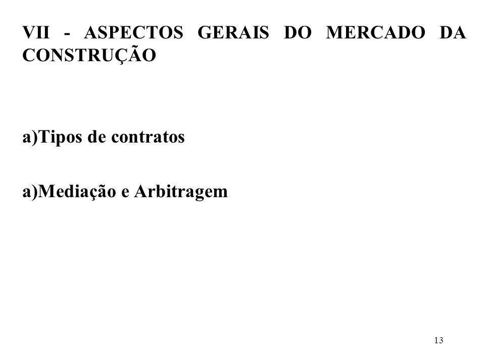 VII - ASPECTOS GERAIS DO MERCADO DA CONSTRUÇÃO a)Tipos de contratos a)Mediação e Arbitragem 13