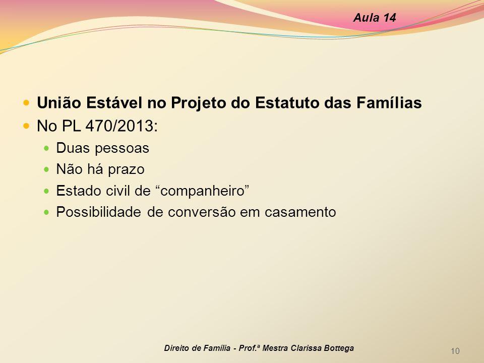 """União Estável no Projeto do Estatuto das Famílias No PL 470/2013: Duas pessoas Não há prazo Estado civil de """"companheiro"""" Possibilidade de conversão e"""