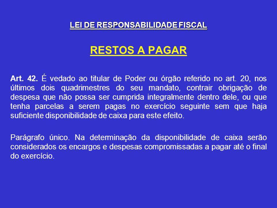 LEI DE RESPONSABILIDADE FISCAL RESTOS A PAGAR Art.