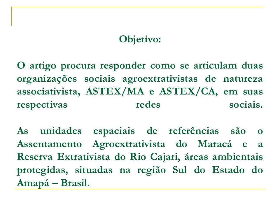 Objetivo: O artigo procura responder como se articulam duas organizações sociais agroextrativistas de natureza associativista, ASTEX/MA e ASTEX/CA, em suas respectivas redes sociais.