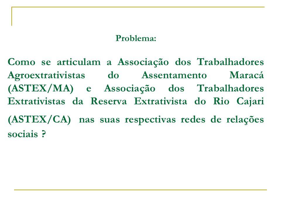 Problema: Como se articulam a Associação dos Trabalhadores Agroextrativistas do Assentamento Maracá (ASTEX/MA) e Associação dos Trabalhadores Extrativistas da Reserva Extrativista do Rio Cajari (ASTEX/CA) nas suas respectivas redes de relações sociais ?