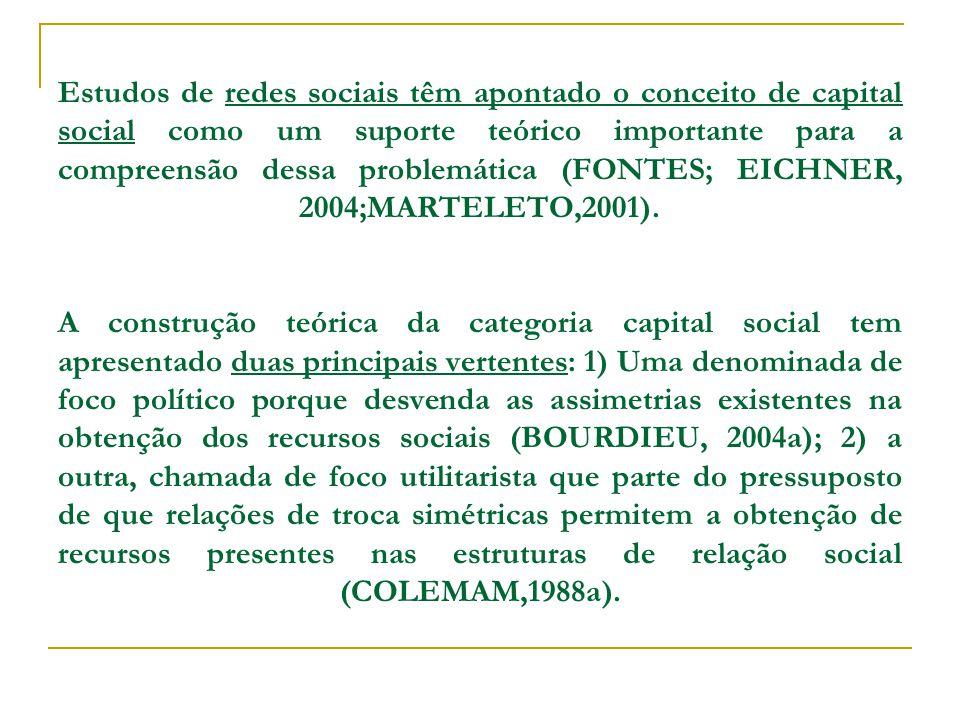 Estudos de redes sociais têm apontado o conceito de capital social como um suporte teórico importante para a compreensão dessa problemática (FONTES; EICHNER, 2004;MARTELETO,2001).