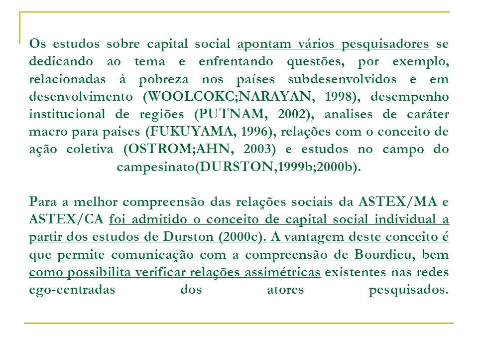 Os estudos sobre capital social apontam vários pesquisadores se dedicando ao tema e enfrentando questões, por exemplo, relacionadas à pobreza nos países subdesenvolvidos e em desenvolvimento (WOOLCOKC;NARAYAN, 1998), desempenho institucional de regiões (PUTNAM, 2002), analises de caráter macro para paises (FUKUYAMA, 1996), relações com o conceito de ação coletiva (OSTROM;AHN, 2003) e estudos no campo do campesinato(DURSTON,1999b;2000b).