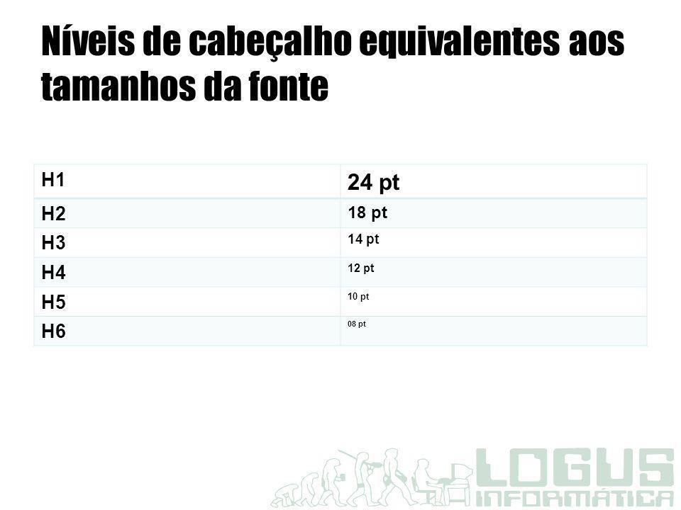 Níveis de cabeçalho equivalentes aos tamanhos da fonte H1 24 pt H2 18 pt H3 14 pt H4 12 pt H5 10 pt H6 08 pt