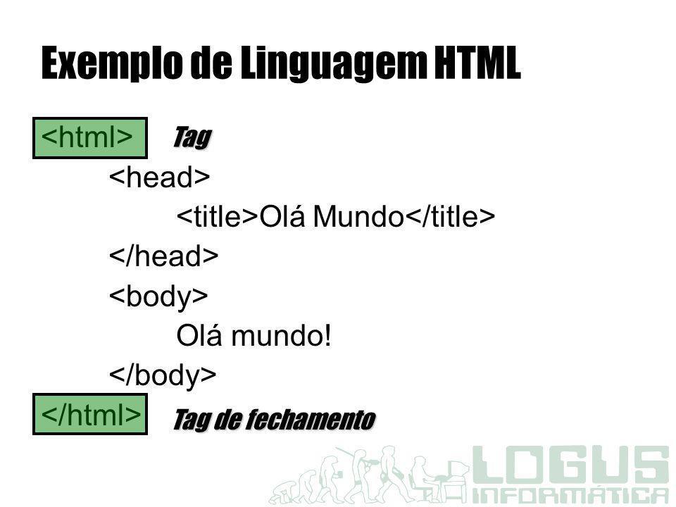 Exemplo de Linguagem HTML Olá Mundo Olá mundo! Tag Tag de fechamento