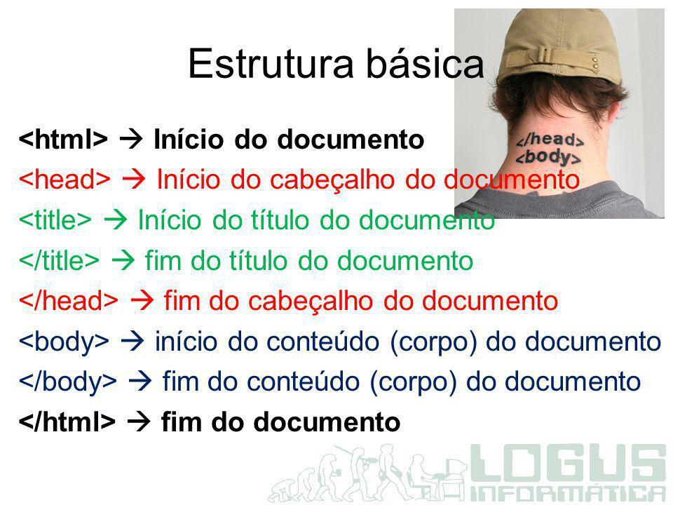 Estrutura básica  Início do documento  Início do cabeçalho do documento  Início do título do documento  fim do título do documento  fim do cabeça