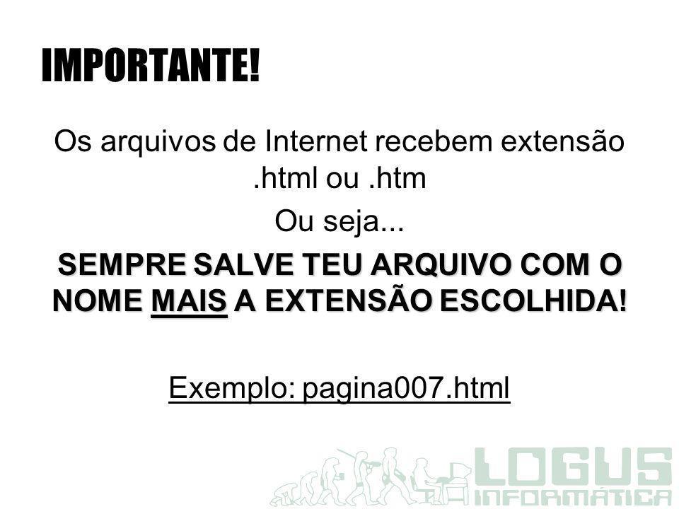 IMPORTANTE! Os arquivos de Internet recebem extensão.html ou.htm Ou seja... SEMPRE SALVE TEU ARQUIVO COM O NOME MAIS A EXTENSÃO ESCOLHIDA! Exemplo: pa